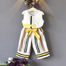 цена на Children Kids Girl Suits Set 2019 Summer Girls Stripe Print Vest Top + Striped Wide-leg Pants Two-piece Sleeveless Clothes