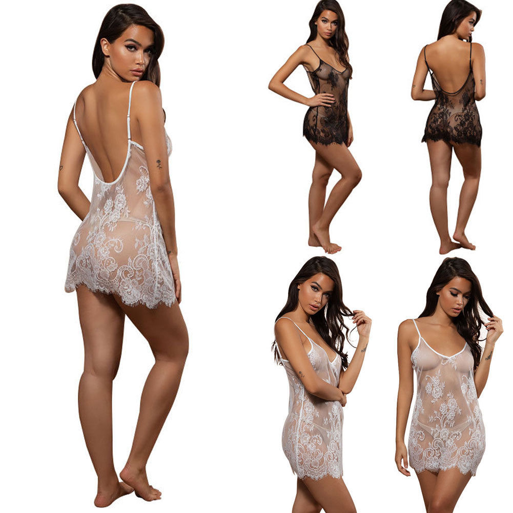 Women Lace Sexy Lingerie Nightwear Underwear G string Babydoll Sleepwear Dress in Babydolls Chemises from Novelty Special Use