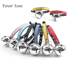 PU Leather Small Dog Cat Collar Adjustable Colorful Puppy kittens Collars Bell Choker Necklace Pets Product