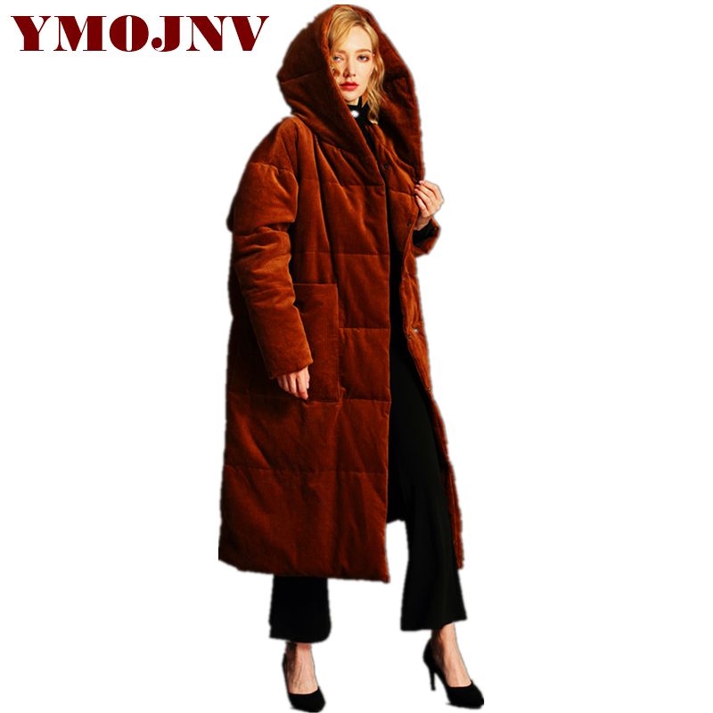 YMOJNV 2018 Winter Women   Down   Jacket   Coat   Female X-Long Fashion Hooded Thicken Warm Outerwear High Quality Corduroy   Coats   Parkas
