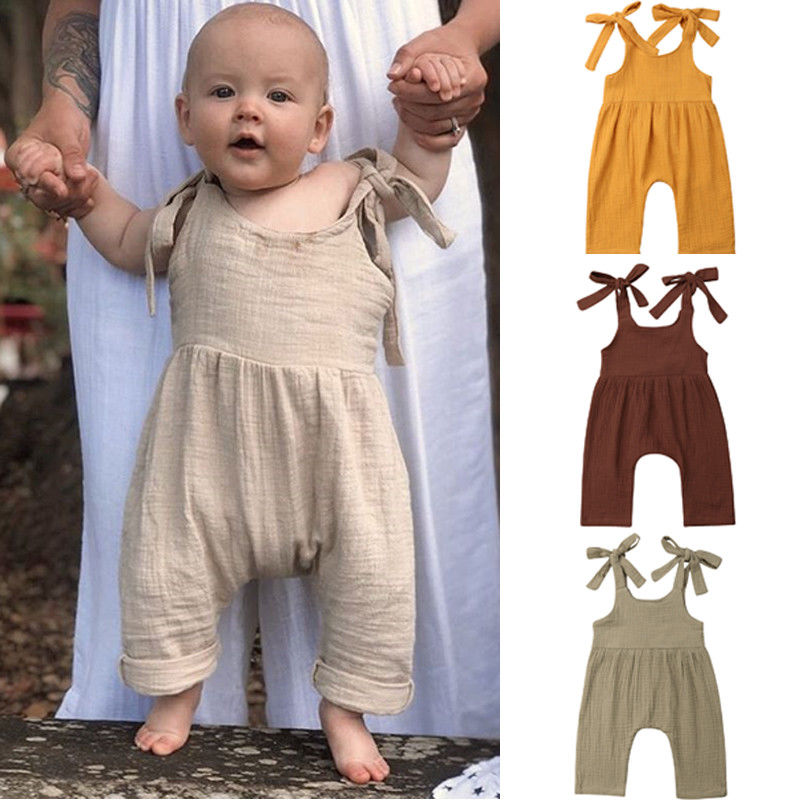Newborn Baby Boy Girl Infant Cotton Linen   Romper   Solid Color Jumpsuit with Self Tie Straps Outfit Clothes