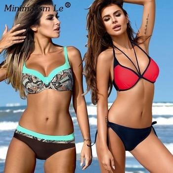 Minimalism Le 2019 Sexy Women Bikini Set Plus Size Swimsuit Push Up Bathing Suit Solid Bikinis Dot Bandage Beachwear Biquini XXL