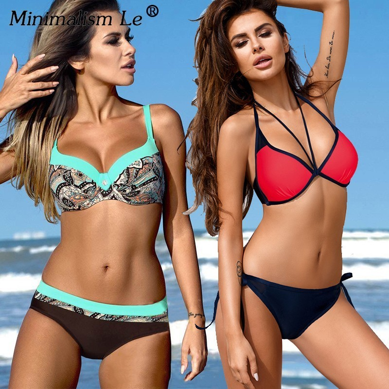 Minimalismus Le 2019 Sexy Frauen Bikini Set Plus Größe Badeanzug Push-Up Badeanzug Solide Bikinis Dot Verband Bademode Biquini XXL