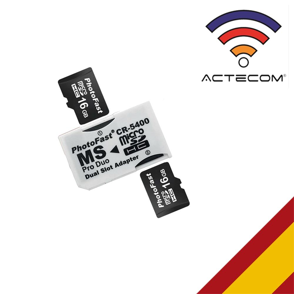 ACTECOM ADAPTADOR DOBLE TARJETAS MICRO SD/ MICROSD A PSP MEMORY STICK PRO DUO