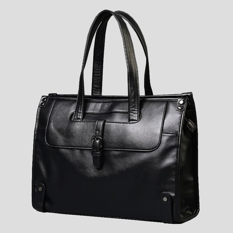 Korean New Shoulder Messenger Bag Men Leather Laptop Black Vintage Briefcases For Men Luxury Men's Business Handbag Leisure