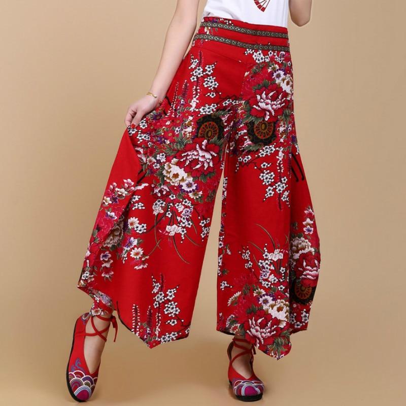 4ef011749 2019 primavera y verano cintura elástica bordado algodón y mezcla  pantalones de pierna ancha falda ...