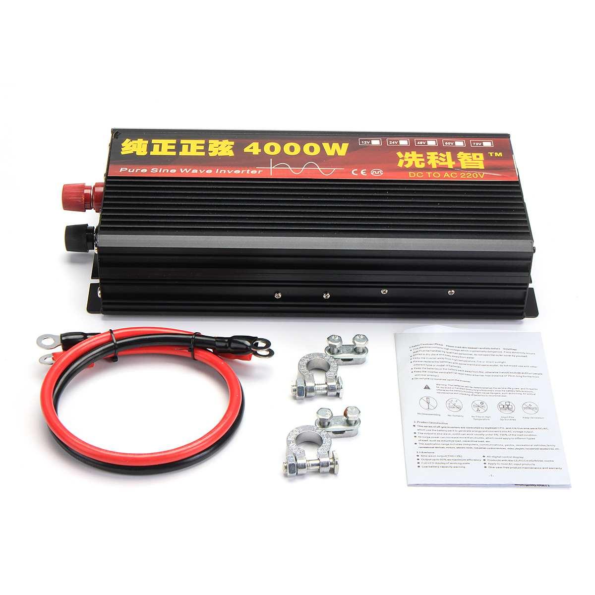 Onduleur 12 V/24 V 220V 2000/3000/4000W transformateur de tension pur onduleur à onde sinusoïdale DC12V à AC 220V convertisseur + 2 LED affichage - 5