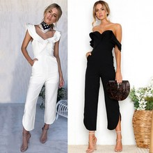 Sexy Strapless Ruffles Jumpsuits Women Casual Black White Femme Long Rompers wide Leg