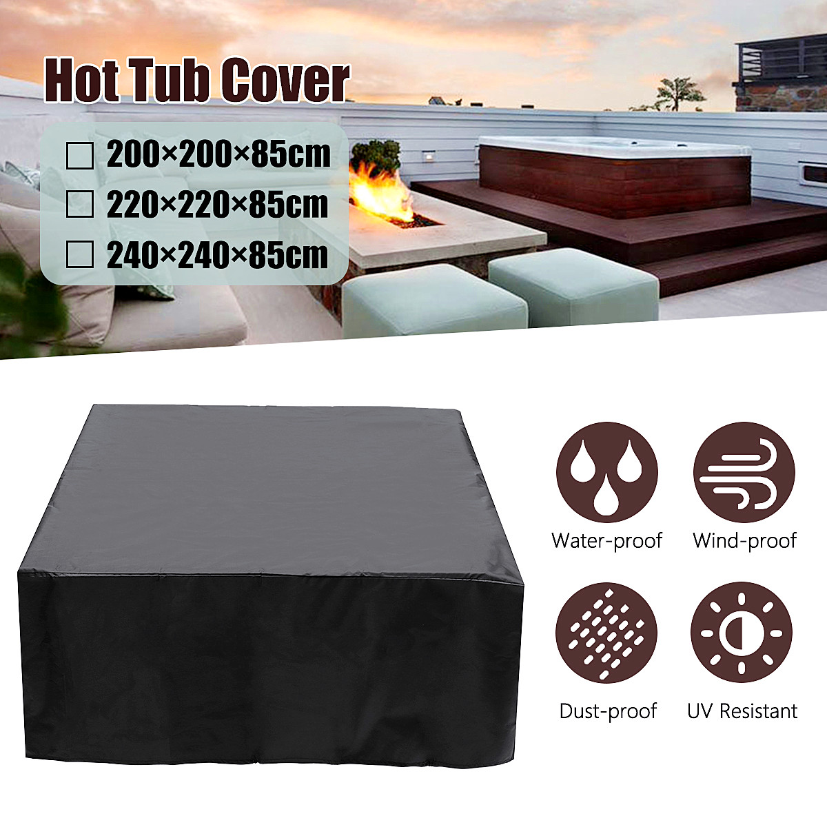 200/220/240*85 cm couverture anti-poussière de bain à remous Durable, anticorrosif, Anti-uv, anti-poussière, résistant à la chaleur et résistant au froid