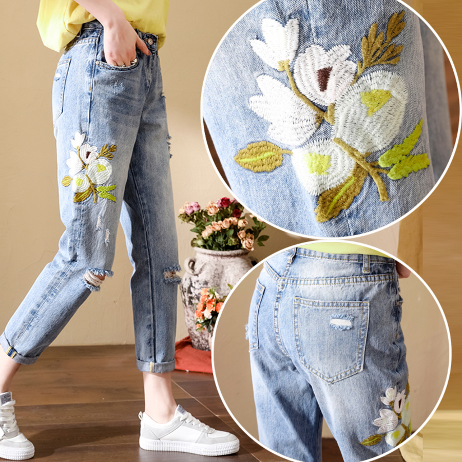 High Waist Ripped Hole Harem Jeans Woman Spring Summer Women Washed Jeans Pants Vintage Embroidery Denim Jeans Mujer in Jeans from Women 39 s Clothing
