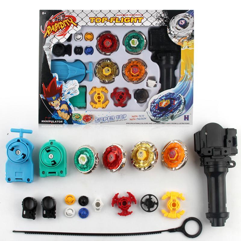 1 ensemble 4 pièces combat Gyro jouets alliage assemblage combat Top Fusion métal maître rapidité combat 4D lanceur poignée ensemble garçon cadeau