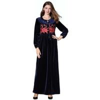 Robe Embroidered Long Gown Pendulum Dress Velvet Autumn And Winter New High Quality Longuette M L XL XXL Flower Dresses