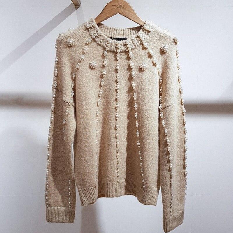 Qualité Longues Femme Chandail Jumper Vêtements Tricoté Printemps Casual À 2019 Pull Manches Femmes Perles De Haute Style France wtfOUq