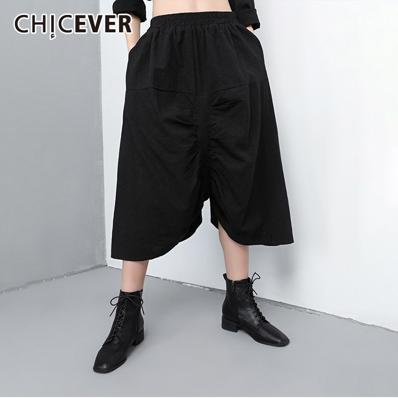 CHICEVER Spring Women   Pants   Elastic Waist Patchwork Pockets Mid Pleated Female Ankle-length   Wide     Leg     Pants   2019 Fashion New