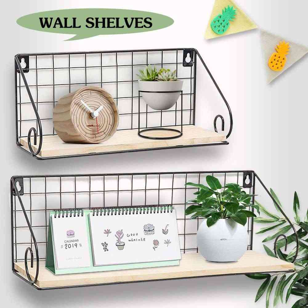 Wooden Iron Wall Floating Shelf Decorative Mounted Storage Rack Organization Bedroom Kitchen Home Kid Room Diy Decoration Holder