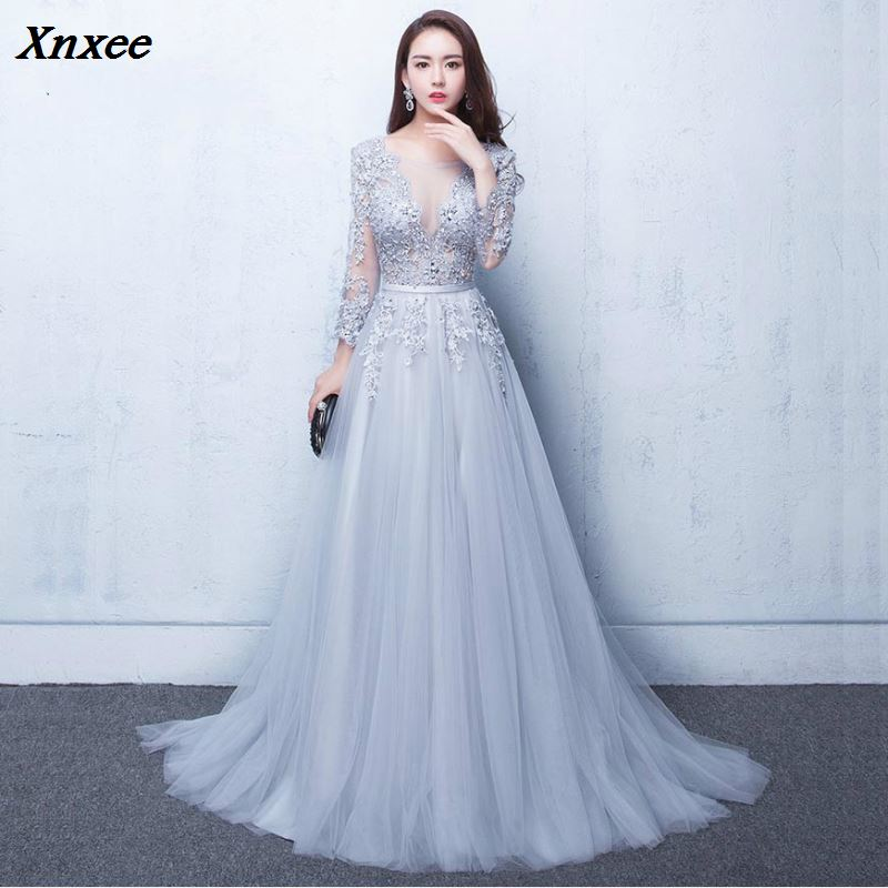 Xnxee New Three Quarter Illusion Backless Lace Up Flowers Elegant Dress Floor Length Party Gown Evening