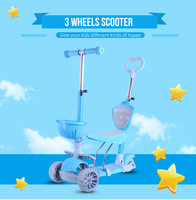 HZ88C Baby Walker Three Wheeled Adult Children Scooter With Removable Seat Adjustable Height For Kids Baby Health Bike Sports