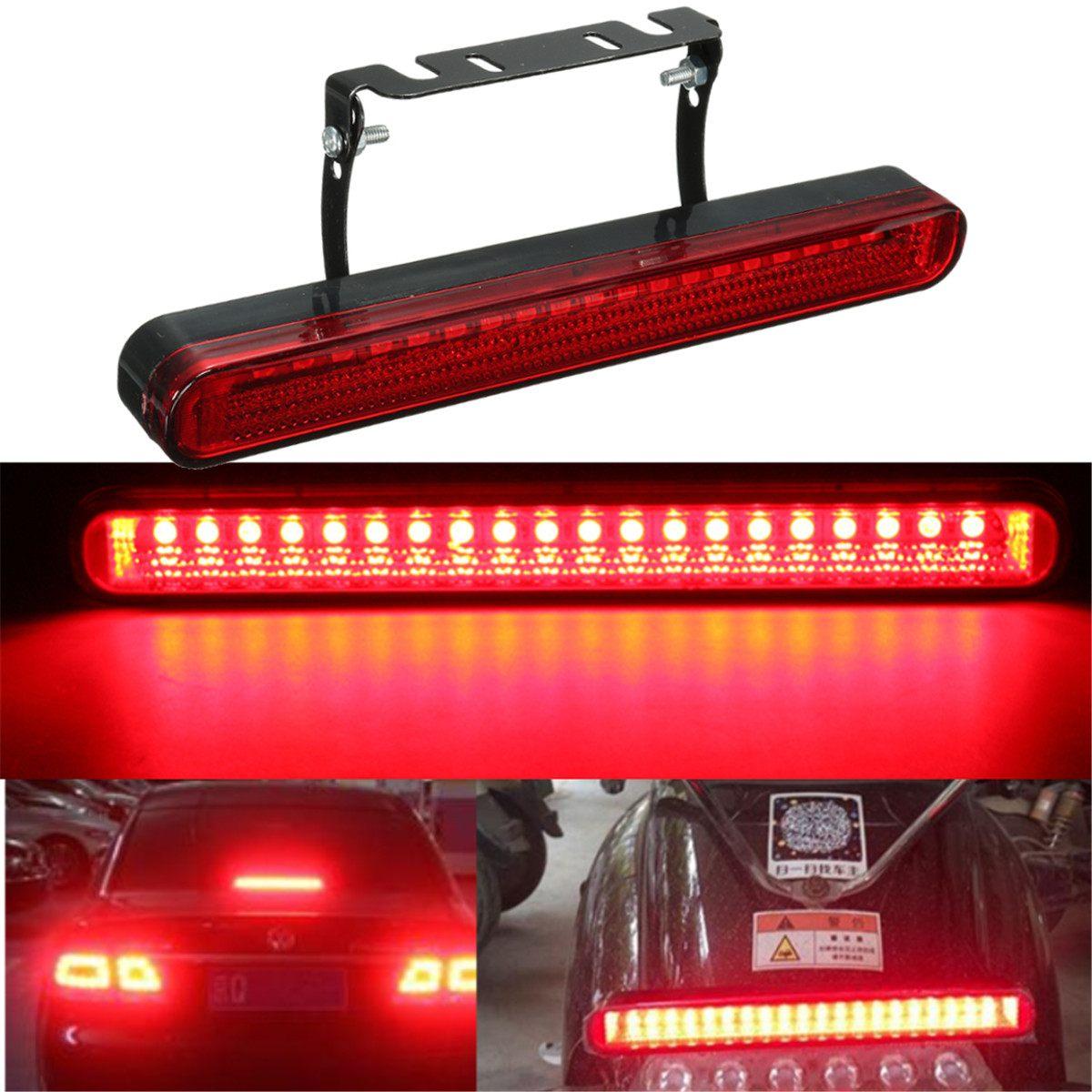 12V Hot Universal Car Motorcycle Rear 20 LED High Brake Warning Tail Fog Stop Light Flashing Red Mount Lamp