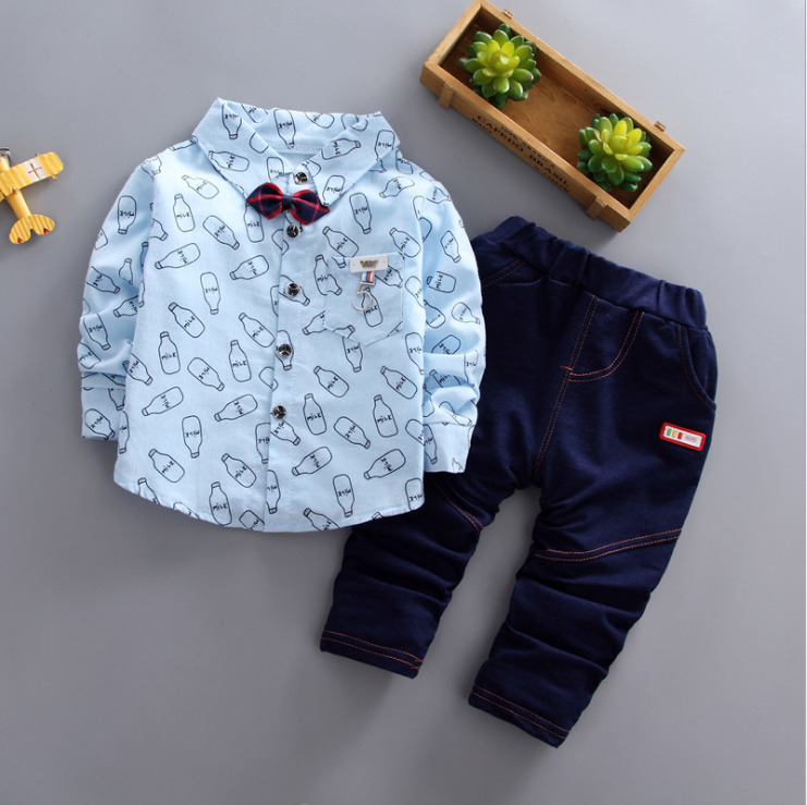 2019 New Spring Children Boys Girls Cartoon Lapel Bow Shirt Pants 2pcs/sets Infant Clothes Suit Fashion Baby Casual Tracksuits Cheapest Price From Our Site