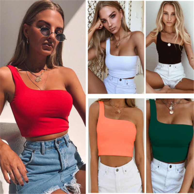 <font><b>Women</b></font> Lady Female One Shoulder <font><b>Crop</b></font> <font><b>Tops</b></font> Sleeveless T-Shirt Tank <font><b>Tops</b></font> Summer Beach Vest Bare Midriff Summer Fashion Clothes image