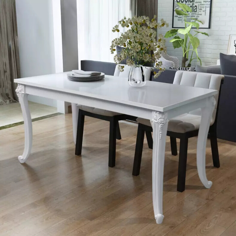 vidaXL Dining Table 120x70x76 cm High Gloss White