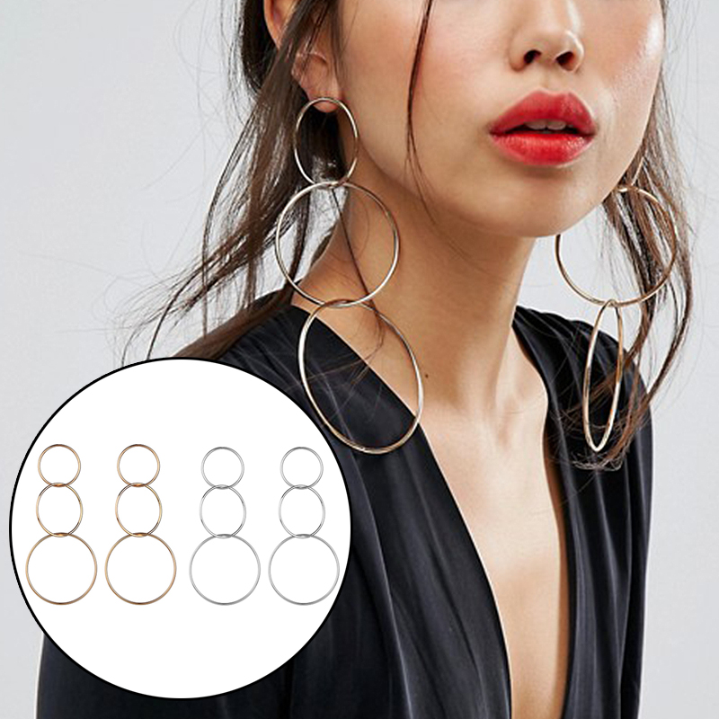 Golden <font><b>Long</b></font> Silver Large Wedding 2019 New Arrival Big Circle <font><b>Sexy</b></font> 1Pair Geometric Unique Round Oversize Drop <font><b>Earrings</b></font> image