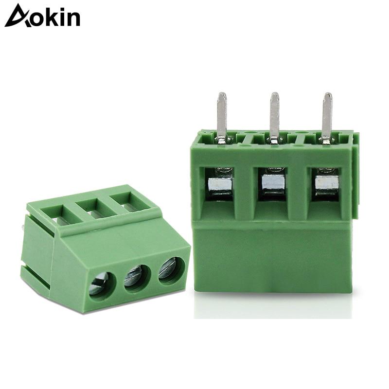 Aokin For Extension Board 10PCS 20PCS 30PCS PCB Screw Terminal Block 3Pin 5mm Pitch PCB Mount Screw Connector
