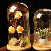 Floral Decor Preserved Fresh Flower Vase Wedding Beautiful Prop Rose Glass Cover Display Bell Jar Dome Cloche Base