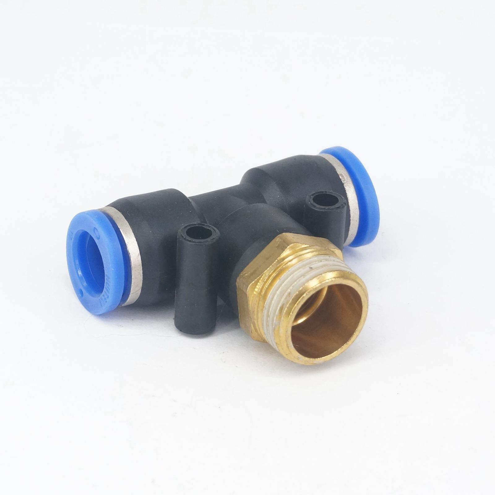 Rohrverbindungsstücke Trendmarkierung 1/2 bsp Männlich Fit 12mm Od Pu Rohr Pneumatische T 3 Möglichkeit Push In Quick Release Air Fitting 0,8 Mpa Hohe QualitäT Und Preiswert