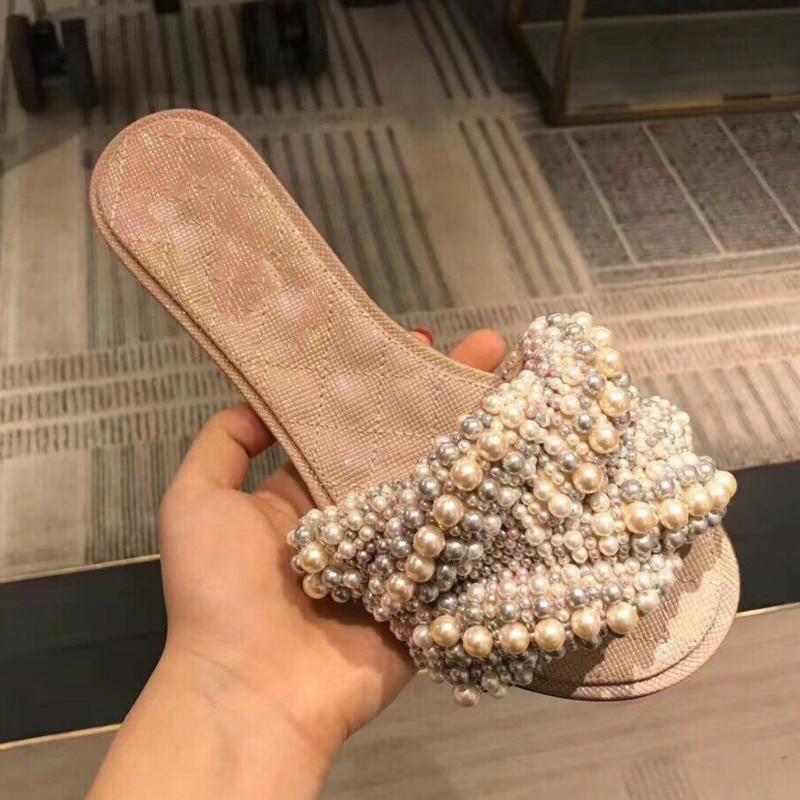 Sommer Ferse Niedrigen Perle Slipper Sapato Stern Fliege Feminino Pic Femmes Strand Schuhe Rutschen Frau Runway Pic Marke Chaussures as Verschönert As qx6zw8