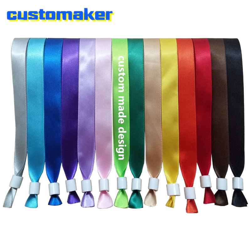 100pcs high quality custom cloth silk Club Access Wristbands for Annual conference Festival Celebration Events Party Bracelet(China)