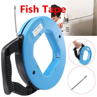 Fiberglass Fish Tape Cable Reel Puller Pulling Wires Cables Steel Threader Guide Rodder Wiring Accessories 4.0mm 30M 98ft
