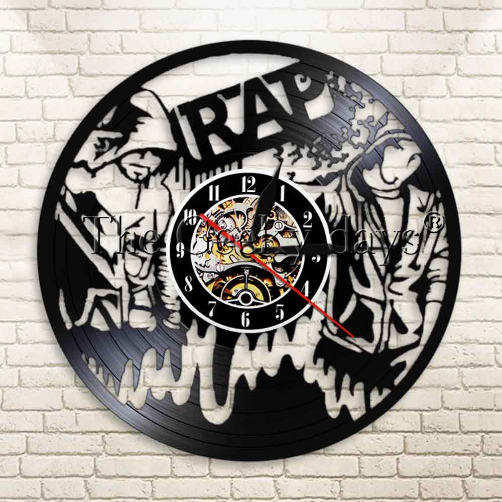 1Piece Vintage Rap Music Wall Clock Vinyl Record LP Clock Hip Hop Handmade Modern Wall Art Time Clock Gift For Rapper(China)