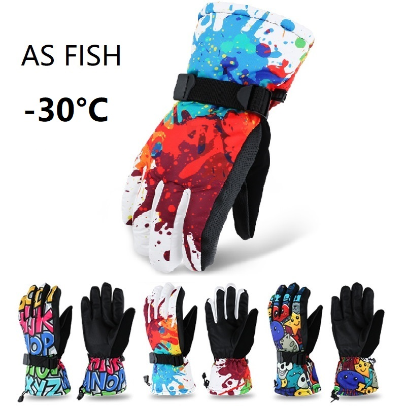 As Fish Professional Adult Teenager Ski Gloves Snowboard Gloves Motorcycle Winter Thermal Riding Climbing Waterproof Snow Gloves