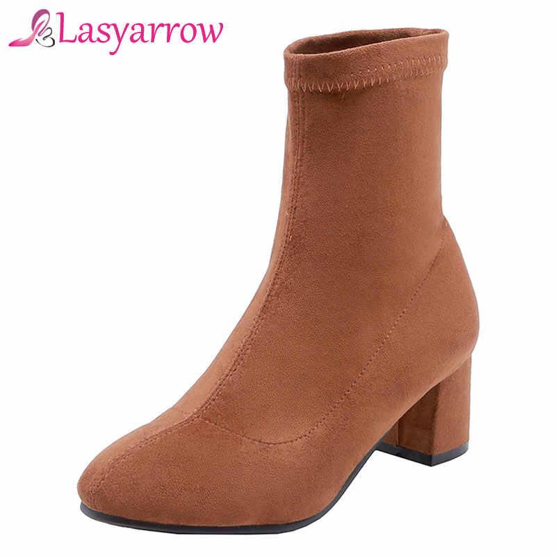 Lasyarrow 2018 Flock หนังถุงเท้าผู้หญิงหนารองเท้าส้นสูงข้อเท้าผู้หญิงแฟชั่น Slim ยืดรองเท้าผู้หญิง Plus ขนาด