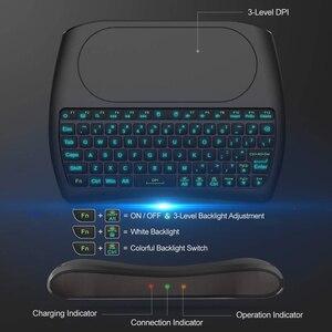 Image 4 - Mini teclado inalámbrico para Android TV, D8 Pro i8, inglés, ruso, español, 2,4 GHz, Touchpad Air Mouse, 7 colores, retroiluminado