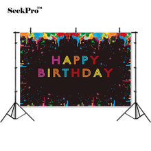 цены thin vinyl happy birthday party baby kids children photo Backgrounds Printed Professional indoor Photographic studio Backdrops
