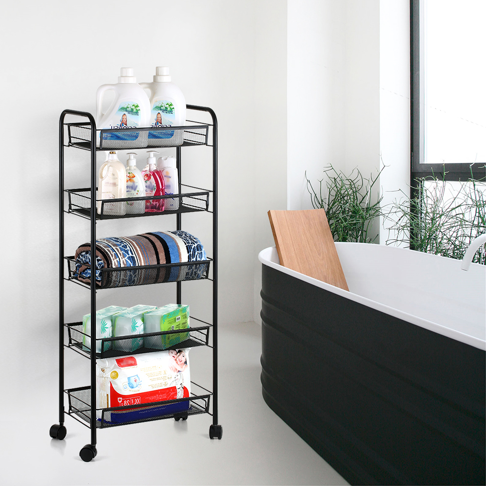 5 Tier Home Rack Storage Shelf Mesh Wire Rolling Cart Storage Trolley Organizer for Kitchen Pantry