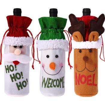 Чехлы для бутылок вина рождественские украшения для дома Санта-Клаус мешок Санта-Клауса банкетный ужин декоративные сумки для хранения бут...