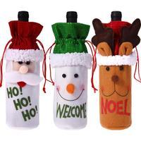 와인 병 커버 가방 집에 대 한 크리스마스 장식 산타 클로스 산타 자루 연회 저녁 식사 장식 병 저장 가방