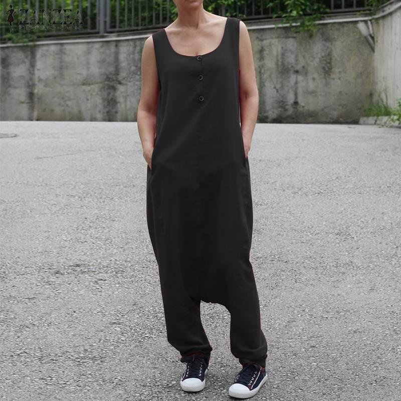 ZANZEA Plus Size Women Jumpsuit Overalls Drop Crotch Rompers Long Pants Jumpsuits Casual Pockets Playsuit Combinaison Femme in Jumpsuits from Women 39 s Clothing
