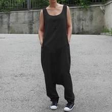 ZANZEA Plus Size Women Jumpsuit Overalls Drop-Crotch Rompers Long Pants Jumpsuits Casual Pockets Playsuit Combinaison Femme drop crotch racer back solid cami jumpsuit