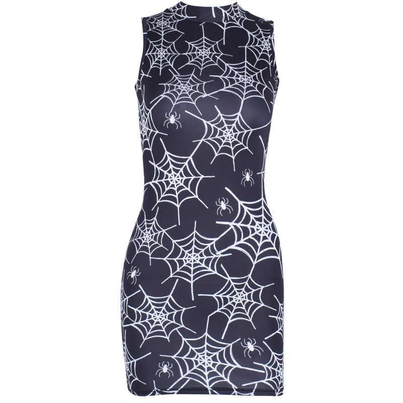 2019 летнее Новое Женское платье без рукавов с круглым вырезом и цифровым принтом в виде паука, платье с пайетками, летнее женское платье
