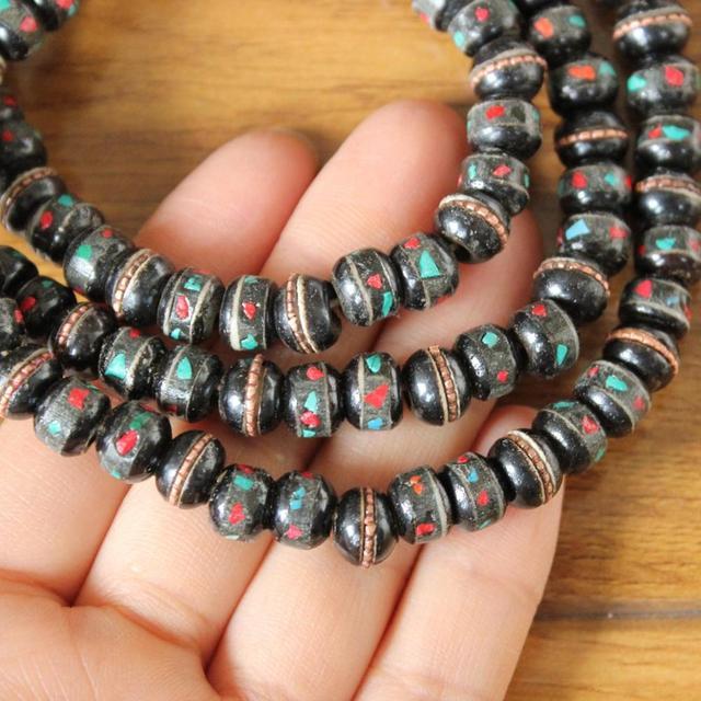 Купить винтажное ожерелье из черного тибетского яка ml177 молитвенные