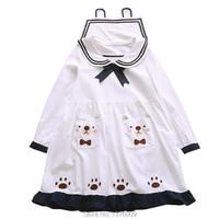 Summer New Style Lolita Dress Japanese Sailor Collar Women Dresses Lovely Bear Paws Sweet Bowknot Long Sleeve School Dress