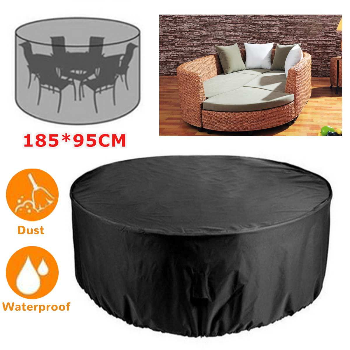 Round Anti-dust Cover Outdoor Garden Yard Patio Rain Snow Table Chair Furniture Waterproof Cover for Round Furniture 73x38 Inch