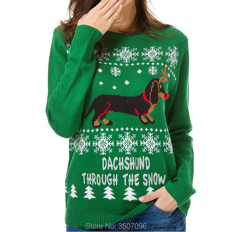 Christmas Sweater Women Cute Dachshund Snow Letter Autumn Winter Holiday Festival Costume Lover Family Matching Xmas Knit Jumper