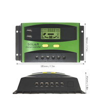 12/24V Dual USB Solar Charge Controller Switch LCD Display Solar Panel Regulator Charge Controller for Solar Light Lamp