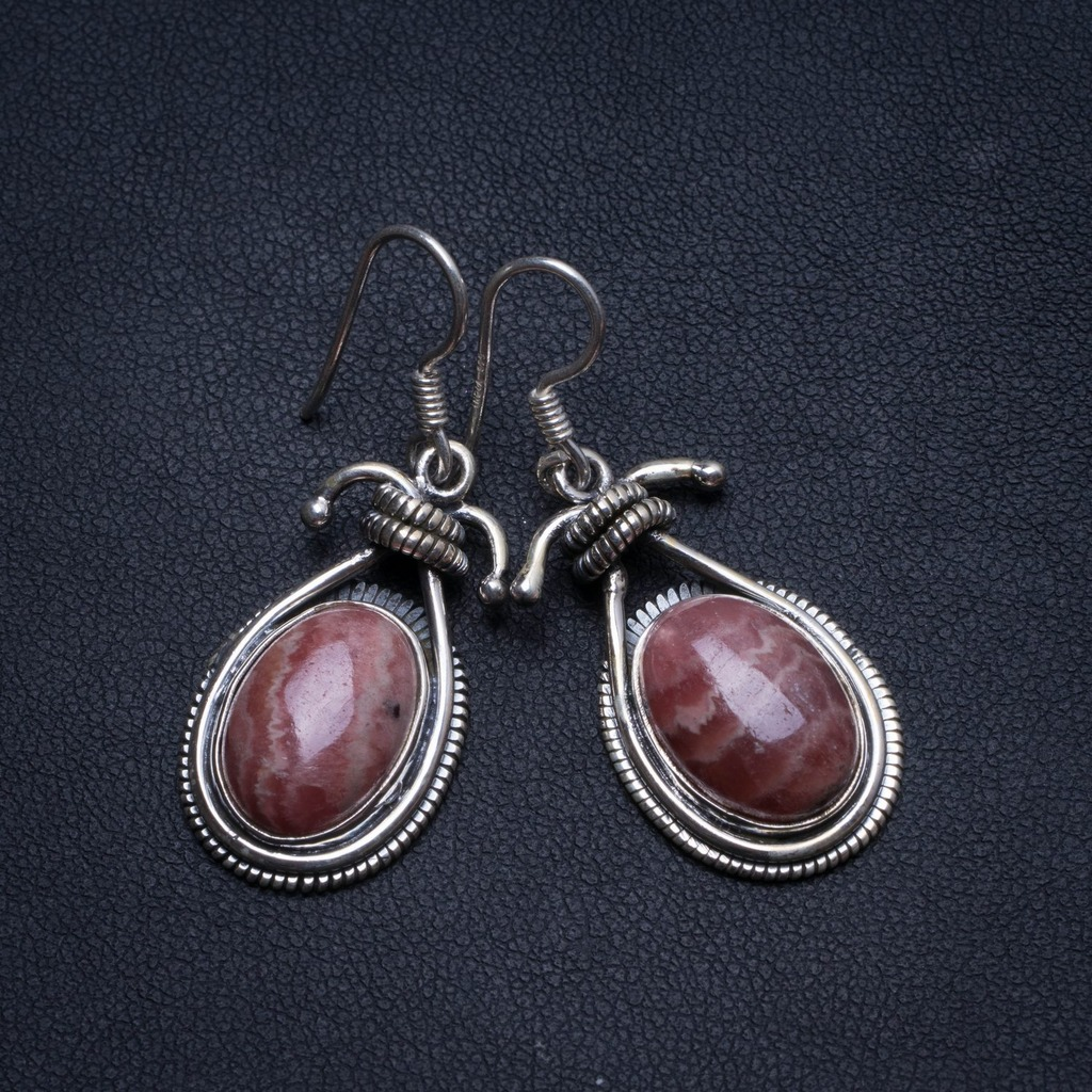 Natural Rhodochrosite Handmade Vintage 925 Sterling Silver Earrings 1.5 U0915Natural Rhodochrosite Handmade Vintage 925 Sterling Silver Earrings 1.5 U0915
