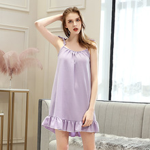 2019 Summer Women Waffle Nightgowns Sexy Sleepwear Nightdress Home Wear Sleep Lounge Sleepshirts Nightwear
